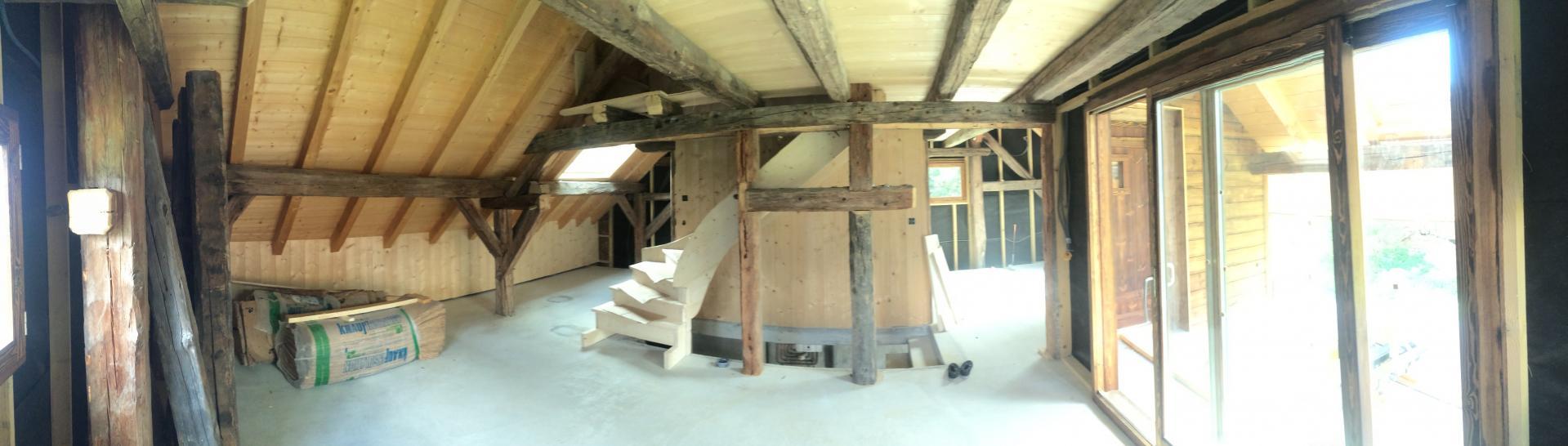 escalier rustique en sapin. Black Bedroom Furniture Sets. Home Design Ideas